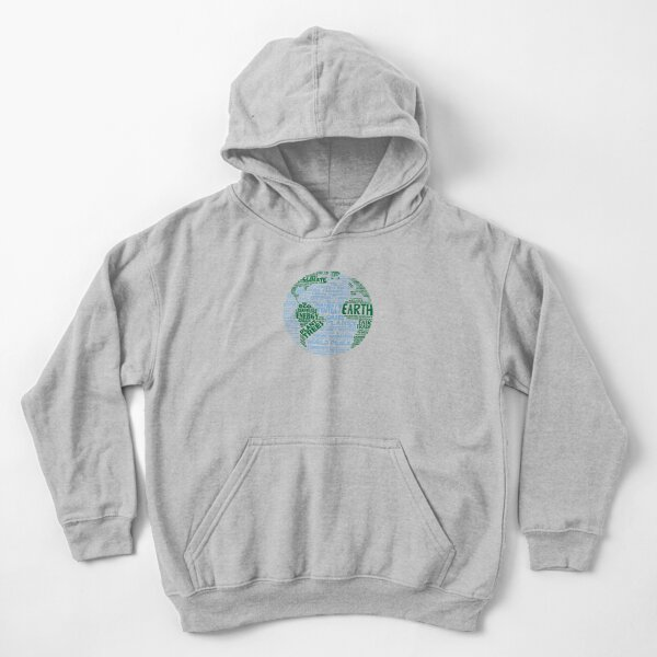 Protect Earth - Blue Green Words for Earth Kids Pullover Hoodie