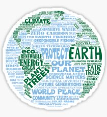 Protect Earth - Blue Green Words for Earth Sticker