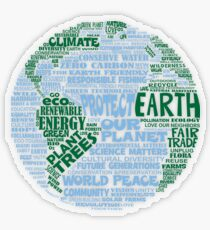Protect Earth - Blue Green Words for Earth Transparent Sticker