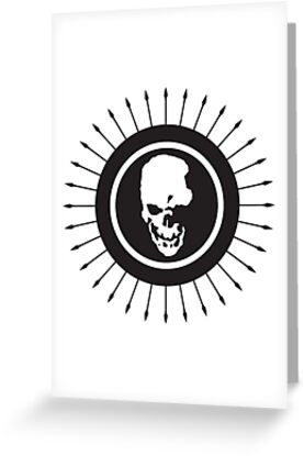 death note skull logo greeting cards by unorthodoxxx redbubble
