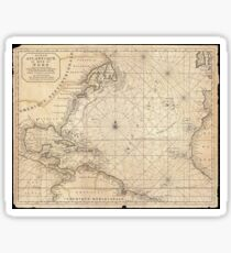 Antique Map - Mortier's Atlantic Ocean (1683) Sticker