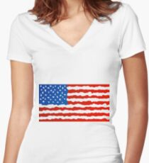 Surrealistic American flag Women's Fitted V-Neck T-Shirt