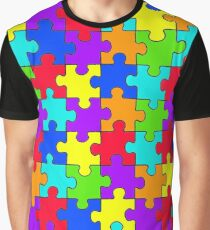 Puzzle colorful rainbow pattern Graphic T-Shirt