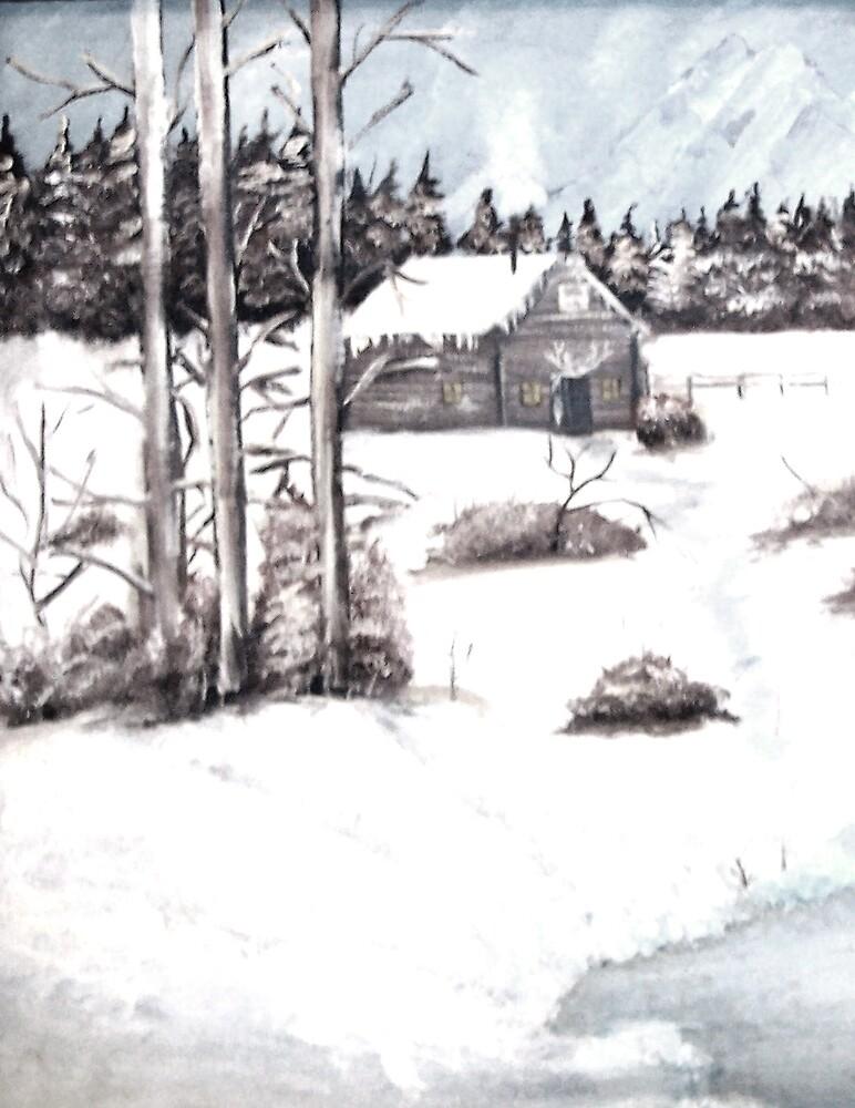 House in snow by derekmccrea