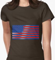 Surrealistic blue and red American flag Womens Fitted T-Shirt