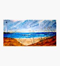 Oil Seascape and Lighthouse painting Photographic Print