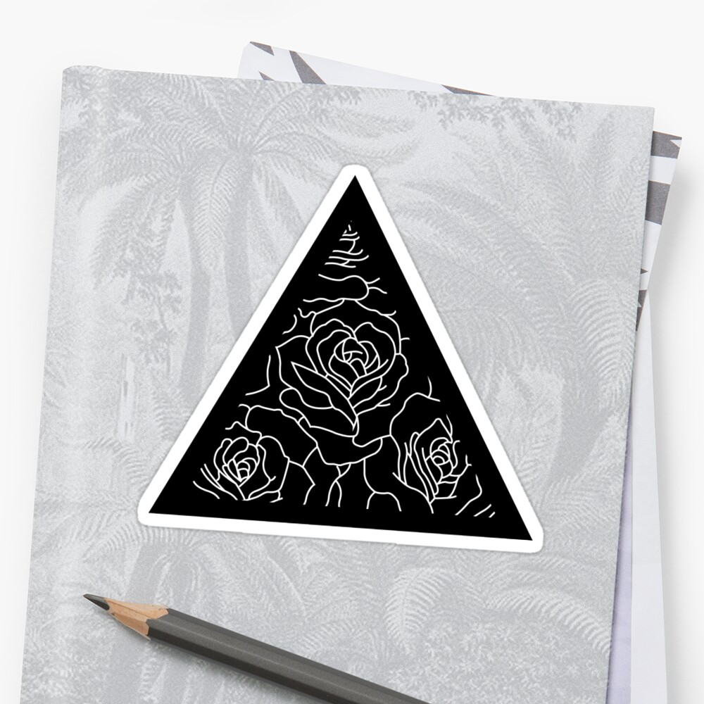 Triangle Roses Black and White Sticker