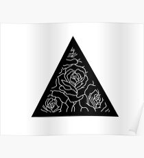 Triangle Roses Black and White Poster