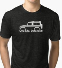 One Life.Defend it! - for Land Rover 90 Defender wagon enthusiasts (version with hood / bonnet bulge) Tri-blend T-Shirt