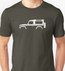 Car silhouette for Land Rover Defender 90 wagon enthusiast  (version with hood / bonnet bulge) Unisex T-Shirt
