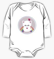 Super Cute Retro Rainbow Sparkle Kitty One Piece - Long Sleeve