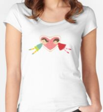 Valentine Heart Cartoon Boy Loves Girl Women's Fitted Scoop T-Shirt