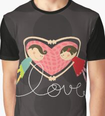 Valentine Heart Cartoon Boy Loves Girl Graphic T-Shirt