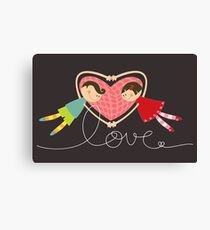 Valentine Heart Cartoon Boy Loves Girl Canvas Print