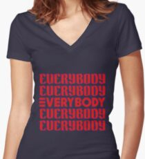 EVERYBODY Women's Fitted V-Neck T-Shirt