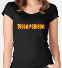 Tesla/Edison vs. AC/DC (Monsters of Grok) Women's Fitted Scoop T-Shirt