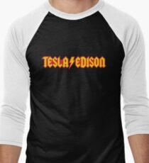 Tesla/Edison vs. AC/DC (Monsters of Grok) Men's Baseball ¾ T-Shirt