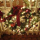 Sparkle Wreath on the Fence At Santa's House by Jane Neill-Hancock