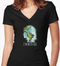 Earth Day - I'm With Her  Women's Fitted V-Neck T-Shirt