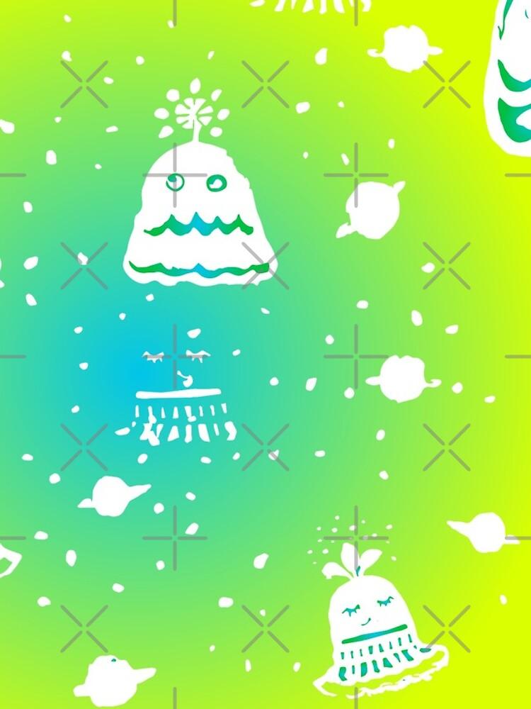 Neon Alien Spaceship Pattern by whya