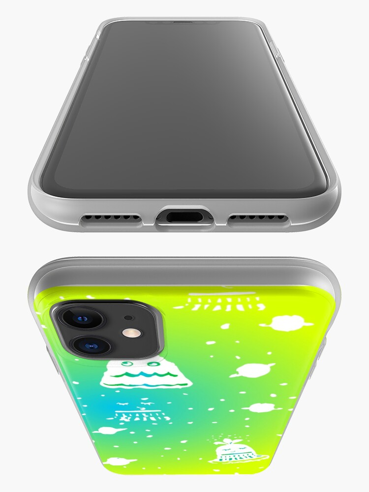 Alternate view of Neon Alien Spaceship Pattern iPhone Case & Cover
