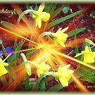 Extra Terrestrial Daffodils Birthday Card by BlueMoonRose