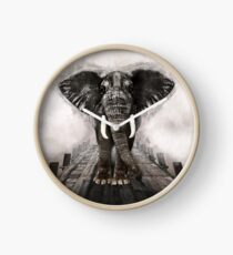 Elephant on walk Clock