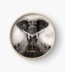 Elephant on walk Clock