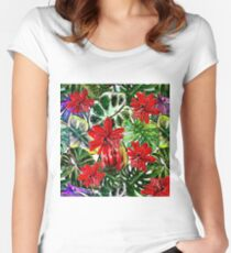 Tropical Flower Palm Leaves Passiflora Garden on #REDBUBBLE Women's Fitted Scoop T-Shirt