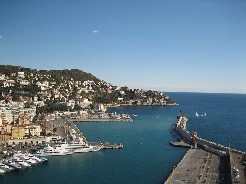 A scenic seaport in the South of France by dolphin