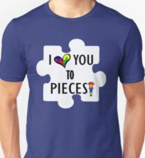 Autism Awareness I love You To Pieces Puzzle ribbon heart Cool Cute Support Unisex T-Shirt