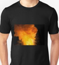 Realistic fiery explosion, orange color with sparks on a black background Unisex T-Shirt