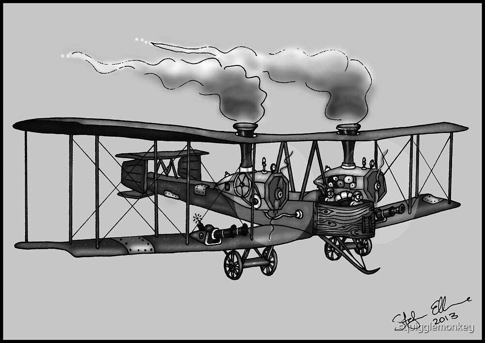 WW1 VICKERS VIMY AEROPLANE BOMBER STEAMPUNK (BLACK AND WHITE) by squigglemonkey