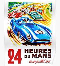 DU MANS: Vintage 24 Stunden Auto Racing Print Poster