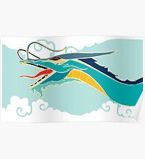Cyan dragon Poster