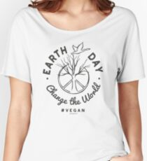 """Earth Day Tshirt for Vegans """"Change the World"""" in White Women's Relaxed Fit T-Shirt"""