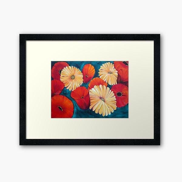 Poppies and Gerberas -  Framed Art Print