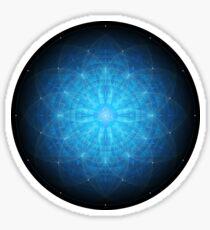 Enigma. Deep blue mandala. Sacred geometry Sticker