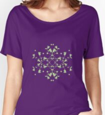 Filigree Tulips Green on Pink Women's Relaxed Fit T-Shirt