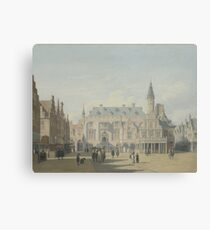Gerrit Berckheyde - The Market Place And Town Hall, Haarlem Canvas Print