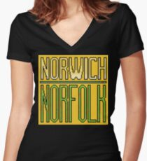 Norwich, Norfolk Women's Fitted V-Neck T-Shirt