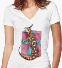 Party Reptile Women's Fitted V-Neck T-Shirt