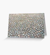Old cobbled stones road background Greeting Card