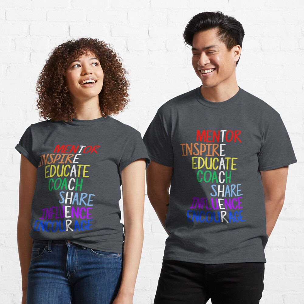 Teacher Meaning Mentor Inspire Educate Coach Share Classic T-Shirt