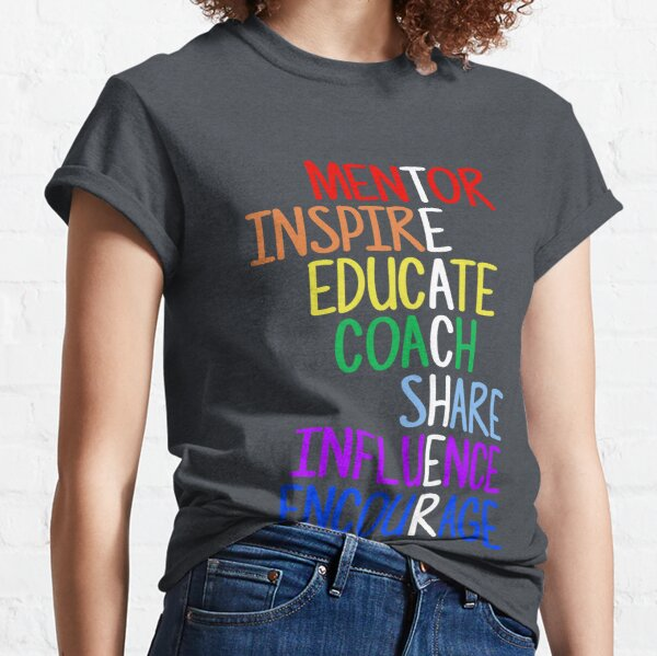 Teacher Meaning Mentor Inspire Educate Coach Share Classic T-Shirt