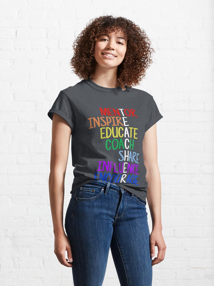 Alternate view of Teacher Meaning Mentor Inspire Educate Coach Share Classic T-Shirt