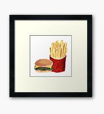Burger and Fries - Acrylic Painting Framed Print