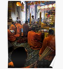 Monks Worshipping Poster