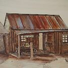 Pyrography Painted: The Old Post Office Homestead by aussiebushstick