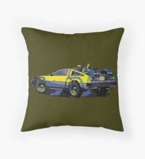 Back to the future Delorean Car | Cult Movie Throw Pillow